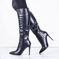 kind heeled pointed toe knee high boots black leather style