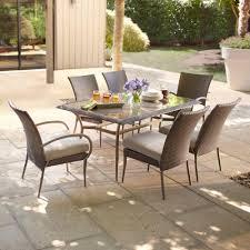 hton bay posada 7 piece patio dining set with gray cushions