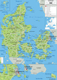 physical map of denmark  ezilon maps