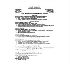 Pharmacy One Page Resume PDF Free Download
