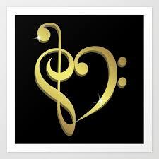 Treble Clef Music Treble Clef Bass Clef Music Heart Love Art Print By Pixxart Society6