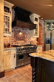 country kitchen with accent brick backsplash tile ideas