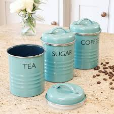 Retro Kitchen Canisters Vintage Blue Tea Coffee Sugar Canister Set Set Of Vintage And