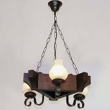 queen chandelier three triangle shape lights wenge brown solid wooden frame wrought iron arms white matt
