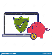 Bank Security Design Laptop And Piggy Bank Security Money Transfer Symbols Blue