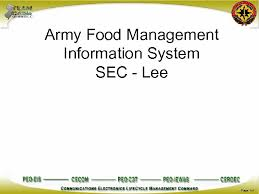 Army Food Management Information System Sec Lee