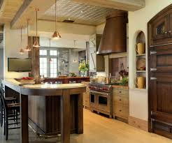 Kitchen Earthy Traditional Kitchen Design With Walnut Island Also