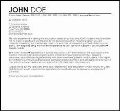Teacher Assistant Cover Letter Samples Sample Cover Letter For Special Education Teachers Teachers Aide