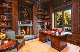 home library office. Home Library Office. Office : Elaborate Woodwork Lends Itself To A Luxe And F