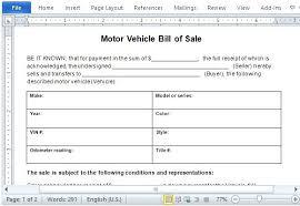 Automobile Bill Of Sale Form Motor Vehicle Receipt Template Sales Form Bill Sale Word