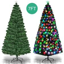 Artificial Christmas Tree With C9 Lights Goplus 7ft Prelit Artificial Christmas Tree Optical Fiber 8