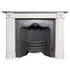 georgian style aged statuary white marble fireplace surround 1