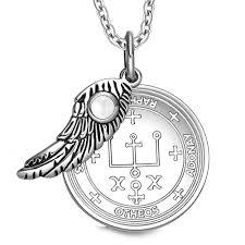 archangel raphael sigil amulet magic powers angel wing charm white simulated cats eye for item 1504909
