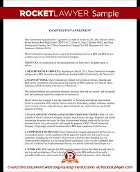 with material construction agreement building agreement template construction contract template