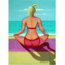 original yoga painting omwoman yoga meditate. Yoga On Beach - Woman Seashore Meditation 8x10 Glicee Print From Original Painting Korpita Ebsq Omwoman Meditate