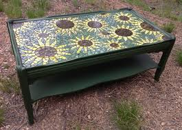 Vintage coffee table updated with paint \u0026 mosaic sunflower top ...