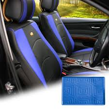 car leather seat cushion covers front bucket blue w dash mat for auto 0