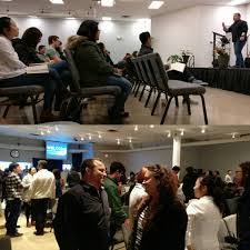 """Maranatha Grace Church - """"Here's a blind man who actually sees pretty  well."""" Reid Monaghan preaching Mark 10 and speaking with Audrey Mocco. 