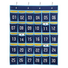 30 Pocket Numbered Classroom Cellphone Storage Calculator