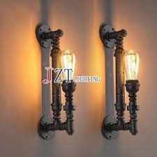 diy pipe lighting black iron pipe lights marvelous t 2 piece american country retro wall