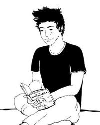 kid reading book drawing