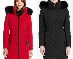 1 calvin klein puffer faux fur trim stretch quilted 90 down black red coat 350