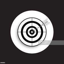 Target And Arrow Icon Bullseye Symbol Modern Flat Design Graphic
