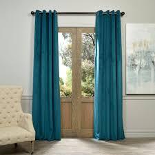 exclusive fabrics furnishings blackout signature everglade teal blue grommet blackout velvet curtain 50 in