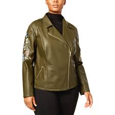 Inc International Concepts Plus Size Embroidered Moto Jacket