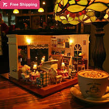 building doll furniture. Diy Doll House Coffee Shop Miniature Wooden Building Model Dollhouse With Furniture Light Music Dust Cover Lover Gift