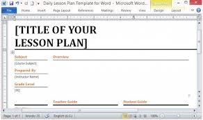 Microsoft Lesson Plans Microsoft Word Template For Making Daily Lesson Plans