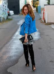 sydne style blue leather jacket black tie up back over the knee boots sam edelman