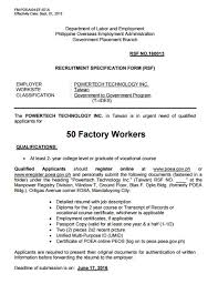 50 Factory Workers For Taiwan Powertech Technology Inc Jobs