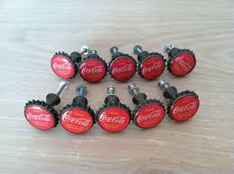 Lot of 10 Coca Cola Bottle Cap Drawer Door Cabinet Pull Knobs
