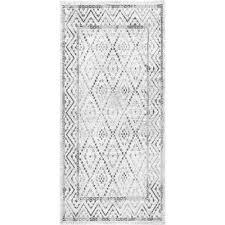 vintage trellis lynell gray 2 ft 8 in x 8 ft runner rug