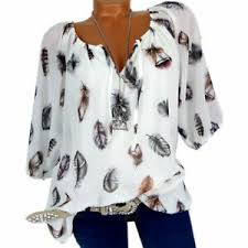 Ebay Asian Size Chart Details About New Fashion Plus Size Womens Loose Print V Neck Half Sleeve Blouse Top