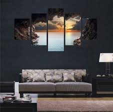 2017 Frameless Painting Twilight Cave Canvas Wall Art 5 Panel For Bedroom  Living Room Home Decor