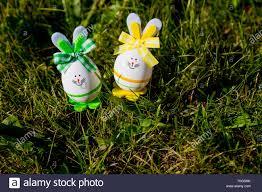 Lustige Ostereier Bunny Rabbit Dekorationen Im Grünen Gras Postkarte