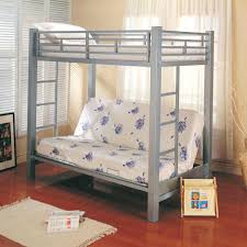 silver bunk bed sharing ons silver metal loft bed with desk underneath