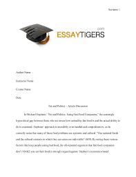 fat and politics  article discussion essay sample surname  author name instructor name course name date fat and politics  article discussion in