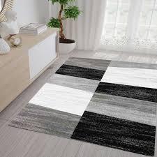 Wohnzimmer Teppich Günstig Meliert In Grau Weiß Und Schwarz Neu Ebay