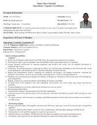 Cv Operations Logistics Coordinator 27 01 2017 Pdf