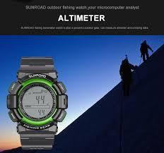 Men Digital Fishing Barometer Altimeter Thermometer Watch