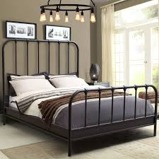 Zoom Room Bed Reviews Diamond Sofa Mateorbqubed Mateo Rust Brown Powder Coat Metal Queen Bed