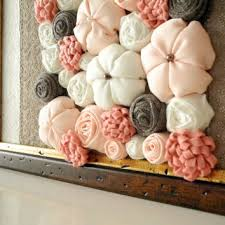 fabric flower wall art 3d design framed home decor peach beige white brown ooak ready to on 3d white flower wall art with fabric flower wall art 3d design framed from mapano on etsy