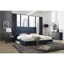 modern furniture bed. Modrest Wales Modern Blue Fabric Bed Furniture