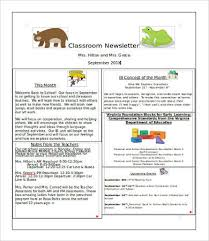 One Page Newsletter Templates Classroom Newsletter Template 9 Free Word Pdf Documents Download