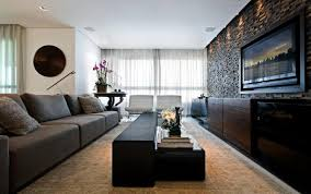 Wall Panelling Living Room Modern Living Room With Big Gray Sofa And White Tufted Chairs