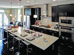 contemporary kitchen with white quartz counter and black cabinets