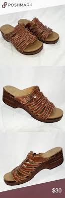 Dansko Brown Strappy Sandal Mules 40 Very Good Used